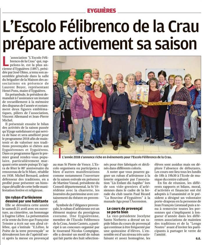 Article presse eyguieres 5 avril 2018