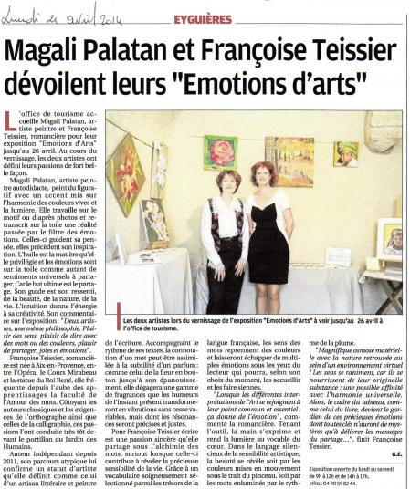 Article la provence emotions d arts 21 04 2014