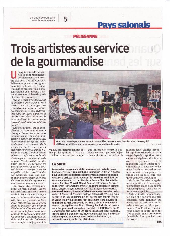 Causeries gourmandes mars 2015