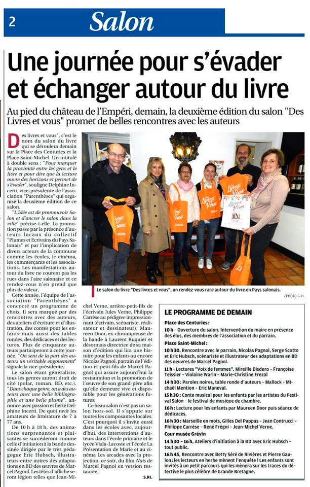 Presse salon du livre 2017 la provence 12 05 2017